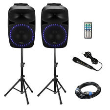 Ibiza PKG15A-SET AKTIV PA ANLAGE LAUTSPRECHER SYSTEM SUBWOOFER BOX SET-Bluetooth