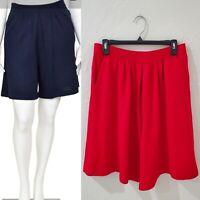 ST. JOHN SEPARATES Red Santana Knit Bermuda Walking Shorts w Pockets Sz 12