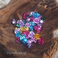 100 perles fleurs / roses métal aluminium 6mm