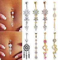 1pc Crystal Flower Heart Body Piercing Dangle Navel Belly Button Barbell Ring