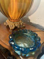 Tiara Ashtray Blue Glass Lotus Flower Vintage Marijuana Cigarettes Cigars Only