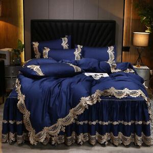 Bedding set 4pcs Luxury Cotton Satin lace duvet cover bed skirt 2 pillow shames