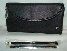 Lancome Black Brush Case & 2 Double Ended Eye Shadow Brushes New