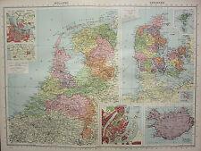 1940 MAP ~ HOLLAND AMSTERDAM NORTH SEA CANAL ~ DENMARK COPENHAGEN ICELAND FAROE