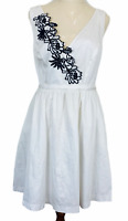 Portmans Womens White Floral Sleeveless Lined Fit Flare Dress with Belt Size 12