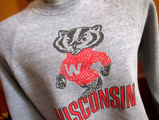 Vtg 80s University Wisconsin Bucky Badger Jerzees Sweat Shirt Gray Heather USA