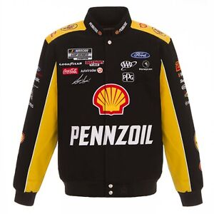Joey Logano Shell Pennzoil Full-Snap Twill  Jacket Black Yellow JH Design