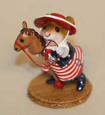 2009 Wee Forest Folk Clippity-Clop Red White Blue M-290a Girl Mouse Hobby Horse
