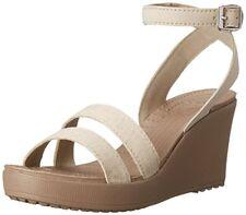 Crocs Women's Leigh Wedge Sandal Oatmeal Mushroom Worldwide