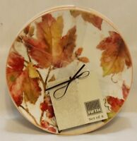 222 Fifth Amber Leaves  Porcelain Appetizer Plates Set of Four New