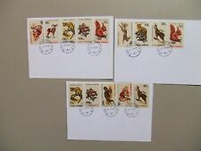 Three Deluxe ,registered Fauna postal stationery w/set of ten Fauna stamps each