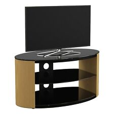 King Universal TV Stand Walnut Effect With Black Glass Top Shelves 80cm Suitab