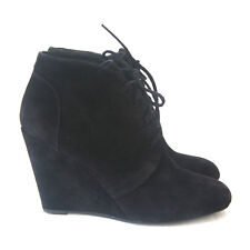 Size 6 - VIA SPIGA Women's Black Suede Wedge Lace Up Ankle Boots
