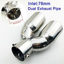 "Chrome 3"" 76mm Inlet Universal Car Tail Pipe Exhaust Rear Muffler Trim Decorate"