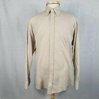 Corneliani Mens Medium Beige Plaid Cotton Shirt Made in Italy Long Sleeve