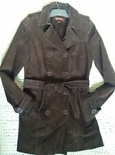 Wit And Wisdom Real Suede🍫 Chocolate 🍫Brown Trench Coat Mac Jacket Size 10,S,M