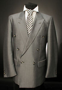 VINTAGE SILVER-GREY DOUBLE BREASTED JACKET / CLASSIC / FORMAL /MENS JACKET MJ-83