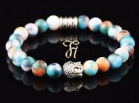 Jade blau bunt Armband Bracelet Perlenarmband Buddhakopf silber 8mm
