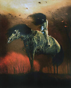 ZDZISLAW BEKSINSKI The Shadow that rides on (58x46.5cm), CANVAS, POSTER FREE P&P