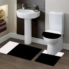 3PC Bathroom Bath Mat Contour Rug Set & Lid Cover #7 2-Tone Black/White