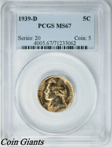 1939-D Reverse of 40 Jefferson Nickel PCGS MS 67 Key Date BU Coin Gold Toned 5c