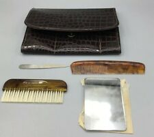 Vintage Travel Kit, Made in England, Brush, Comb, Mirror, Bag, File Reptile Look