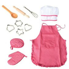Kids Cooking and Baking Set - 11pcs Kitchen Costume Role Play Kits Apron Hat F