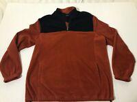 CROFT & BARROW Men's 1/4 Zip Arctic Fleece Pullover ORANGE NAVY Size LARGE  Vtg