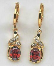 Exquisite Rubin Granat rot Zirkon Ohrringe Gold 18K (750) platti.30mm Top Chic👸