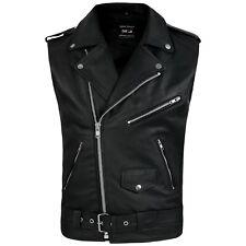DEFY Men's Sleeveless Biker Style Classic Vest Belted Punk Genuine Leather Vest