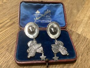 VINTAGE 925 SILVER MEXICAN COWBOY HAT AND SADDLE EARRINGS