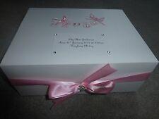 Personalised baby keepsake box pink washing line Memory Box Christening Gift