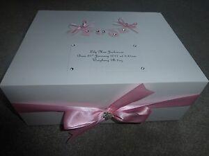 Personalised keepsake box pink washing line Memory Box Extra large 40x30x15cm