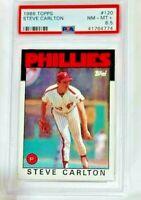 1986 TOPPS #120 Steve Carlton HOF  PSA 8.5 NM MINT + Phillies Baseball Card