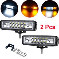 """2X 6"""" Dual Color White Amber Fog Warning Flash Strobe LED Flood&Spot Work Light"""