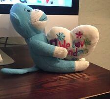 We Love Grandma Blue and White Stuffed Monkey-Happy Mother's Day