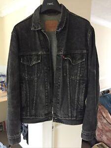 Levi Vintage Black / Grey Denim Trucker Jacket - Medium - Levi Red Tab