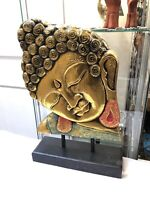 Buddha Face Wood Carved On Solid Wood & Painted Bali Indonesia by ZENDA IMPORTS