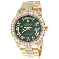 18K Gold 36mm Rolex President Day-Date 18038 Diamond Watch Green Dial 10.27 CT.