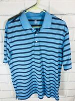 PGA Tour Men's Golf Polo Shirt size M Blue Striped Activewear Short Sleeve (W96)
