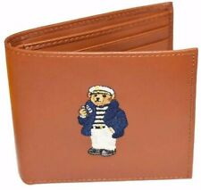 POLO RALPH LAUREN (POLO BEAR) NAUTICAL SAILOR LEATHER BIFOLD WALLET TAN NIB 🔥
