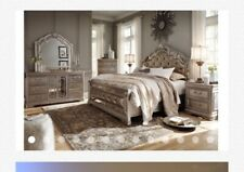 Bedroom Set King Size Furniture 3 Piece Modern Black Leather Bed 2 Nightstands