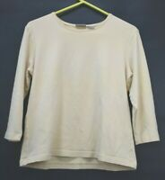 Chico's Women's Size 2 Long Sleeve Crew Neck Casual Wear Plain T-Shirt Yellow