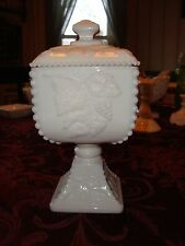 Vintage Westmoreland Milk Glass Candy Dish With Beaded Edge Grape Near Mint