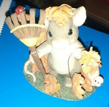 New listing Charming Tails Change Is In The Air Fitz & Floyd 85/502 Autumn Mouse Leaves Rake