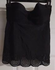 New Womens Merona Black Bandeau Tankini Swimsuit Strapless Halter Top Size Small