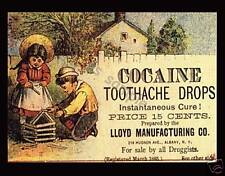 COCAINE TOOTHACHE DROPS - Vintage Ad - Flexible Fridge Magnet