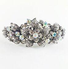 USA BARRETTE Rhinestone Crystal Hairpin Clip Metal Vintage Elegant Silver 03