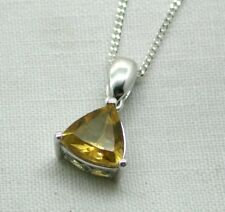 Very Nice 9 Carat White Gold And Heart Shaped Citrine Pendant And Chain