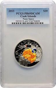 Rare 2013 Cook Is 50mm Silver color $10 Nano Space-PCGS PR DCAM 69-mintage 1000
